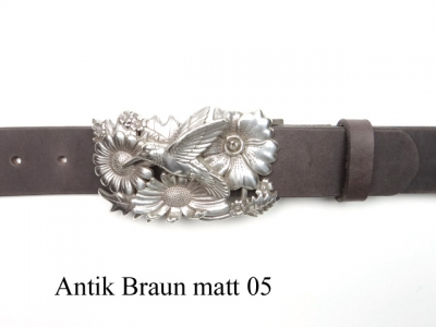 Leather belt with silver-plated humming bird buckle