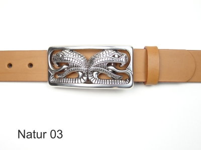 Leather belt with silver-plated snakes heads buckle