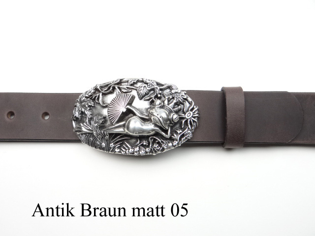 Leather belt with frog buckle, frog king silver-plated buckle and ... 1ee7d9c6861