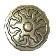 Belt buckle, antique brass coloured, sun design