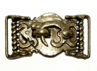 antique brass finish buckle with hook closure