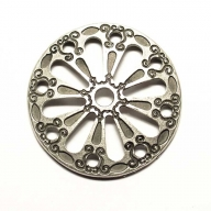 Round antique silver coloured decorative rivet, 3cm diameter