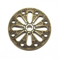 Round decorative rivet, antique brass coloured finish, 3cm diameter