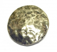 large round, antique brass coloured buckle with hammered surface appearance