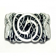 Celtic design buckle, original Dragon Design, silver coloured/black enamel finish