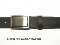 Belt with nickel coloured satin finish buckle, nickel-free
