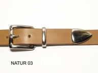 Belt with silver coloured buckle and tip, 3cm wide - 1