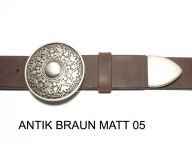Belt with round, antique silver coloured buckle and tip, 4cm wide