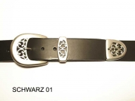 Belt with matt silver coloured 3 part buckle set, 4cm wide