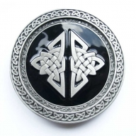 large, celtic, silver coloured/black buckle, original Dragon Design