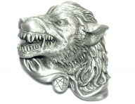 Wolfs head buckle, original Great American Buckle, silver coloured finish