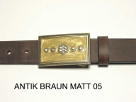 Belt with brass/ochre coloured buckle and strass stones, nickel-free