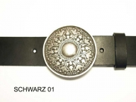 Belt with round antique silver coloured, nickel-free buckle, 4cm wide
