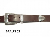 Belt with silver coloured, ornamentally engraved buckle, nickel-free