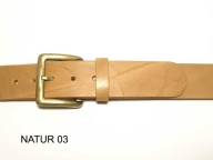 Belt with antique brass coloured buckle, 4cm wide, nickel-free