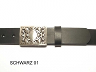 Belt with silver plated, nickel-free buckle, 3.5cm wide