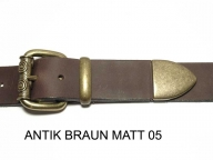 Belt with antique brass coloured buckle set, 4 cm, nickel-free - 1