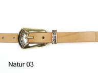 2 cm wide leather belt with a polished gold coloured 2 part buckle set