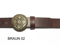 3cm wide belt with round, brass coloured buckle, nickel-free