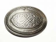 Oval buckle with celtic design, antique silver finish