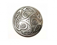 Celtic triscele buckle, original English pewter, St. Justin