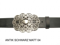 Belt with large, silver coloured buckle, nickel-free, 4cm wide.