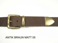 Belt with antique brass coloured nickel-free buckle set, 4 cm wide