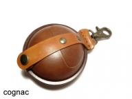 Round, hardened leather pouch, large