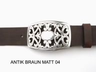 Belt with large, elegant, silver plated  buckle, 4 cm wide