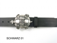 Belt with silver coloured tortoise buckle