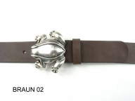 Belt with silver-plated frog buckle, 4cm wide