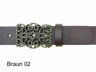 Belt with filigree buckle in antique brass finish
