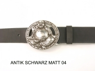 Belt with silver coloured buddha buckle, 4cm wide