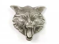 Buckle with 3 dimensional wolfs head, silver coloured finish