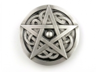 Pentagram buckle, original Dragon Design, silver coloured/black