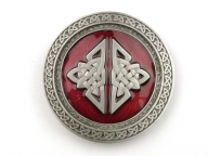 Large, celtic, silver coloured/red enamel buckle, original Dragon Design