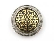 Celtic knot buckle, origianl Dragon Design, silver coloured/gilt finish