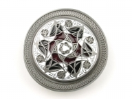Intricate design buckle, silver coloured/red/black buckle, original Dragon Design