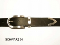 Belt with silver coloured decorative 3 piece buckle set, nickel-free