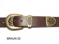 Belt with antique brass coloured 3-part buckle set, 4 cm wide, nickel-free
