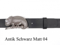 Belt with silver-plated chameleon buckle