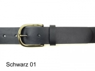 Belt with rounded solid brass buckle, 4cm wide