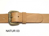 Belt with antique brass coloured buckle, 4 cm wide, nickel-free
