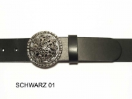 Belt with round, decorative silver coloured buckle, 4cm wide.