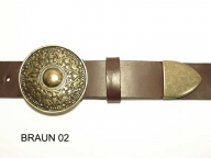 Belt with round antique brass coloured buckle and tip, 4cm wide