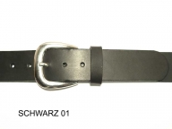 Belt with silver coloured gloss finish buckle, 4cm wide.