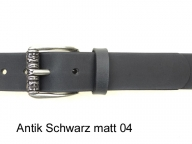 Belt with antique silver coloured buckle, 4cm wide, nickel-free