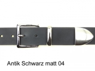 Belt with glossy silver coloured buckle set, 4cm wide