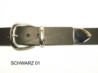 Belt with silver coloured 3 part buckle set, 4cm wide