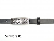 Belt with nickel-free silver-plated rectangular shaped buckle in 2 cm width
